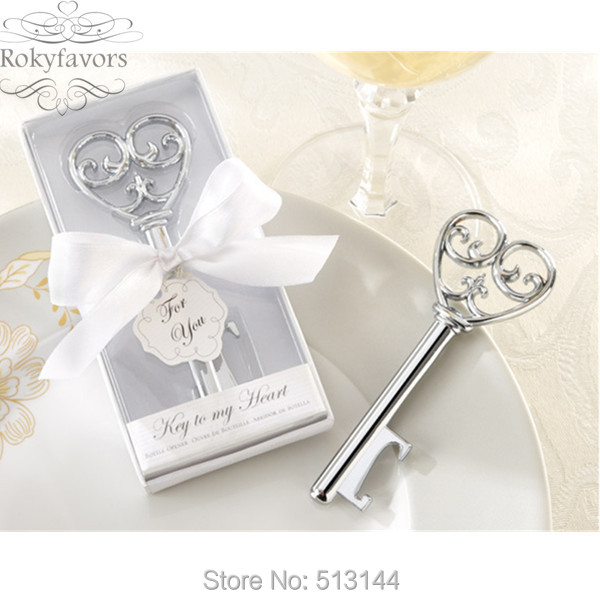FREE SHIPPING 20pcs Holiday Supplies Key to My Heart Wine Bottle Opener Wedding Favours, Simply Elegant Party Favors Ideas(China (Mainland))