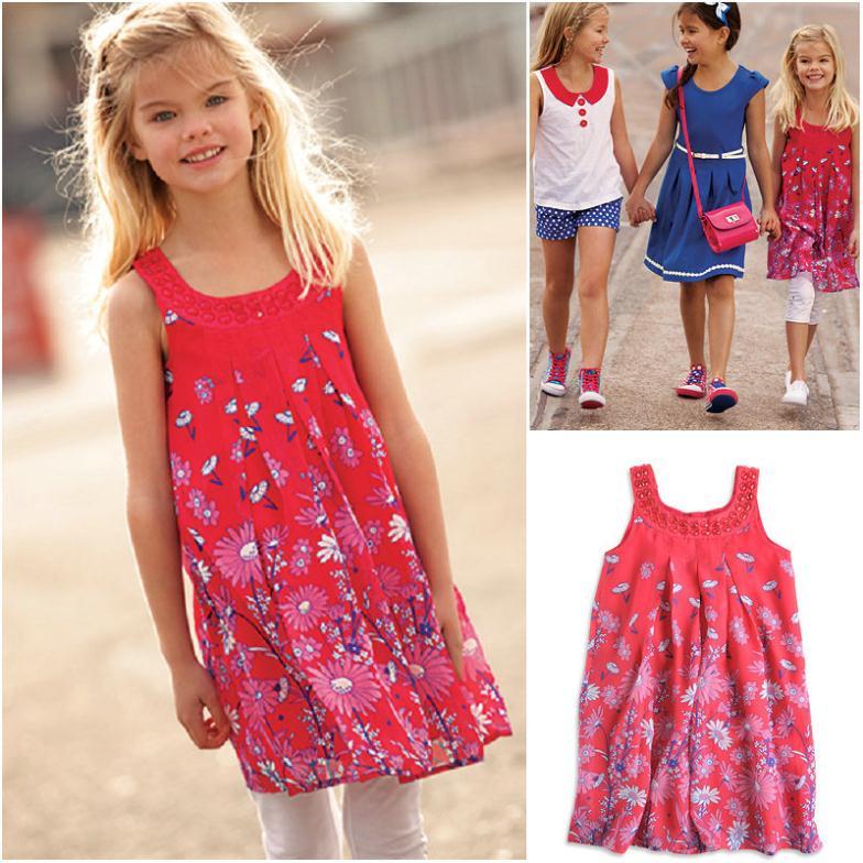 Wholesale 8pcs/lot 2015 dresses girls chiffon dress with diamond girls sundress with cotton linging 5 -12 years PRINTED dress(China (Mainland))