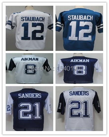 #8 Troy Aikman,#12 Roger Staubach,#21 Deion Sanders Throwback Football Jersey,Best quality,Authentic Jersey,sport jerseys(China (Mainland))