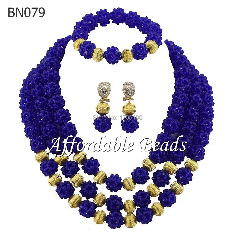 2015 Charming Royal Blue African Wedding Crystal Beads Jewelry Sets Nigerian Costume Bridal Necklace Jewelry Free Shipping BN079(China (Mainland))