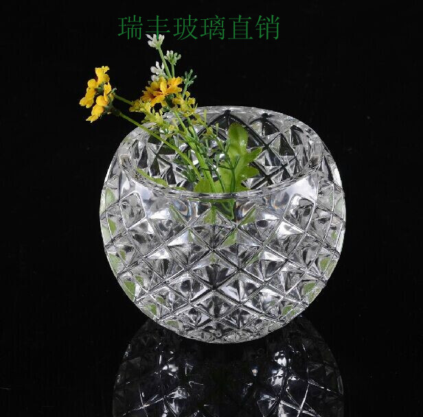 Crystal clear glass vase household act the role ofing is tasted furnishing articles ball table flower implement sitting room(China (Mainland))