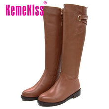 Free shipping over knee natrual real genuine leather flat boots women snow warm boot shoes CooLcept R1494 EUR size 33-43
