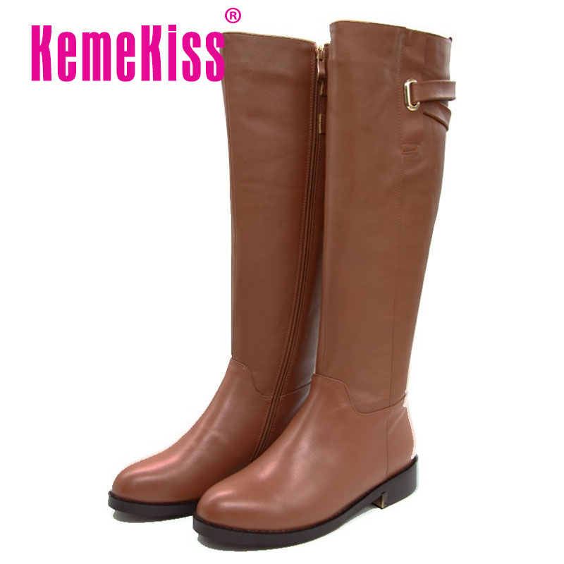Free Shipping Over Knee Natrual Real Genuine Leather Flat Boots Women