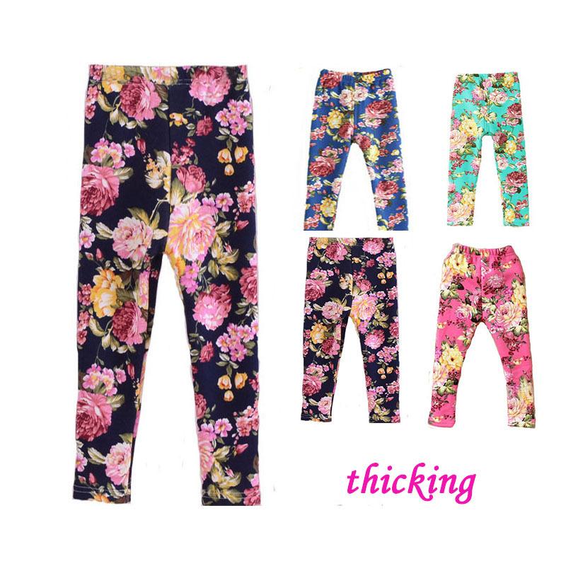 2015 Spring Autumn Winter New Fashion Children's 1-8 Year Cotton Warm Pant Girls Kids Flower Thickening Trousers Print Legging(China (Mainland))