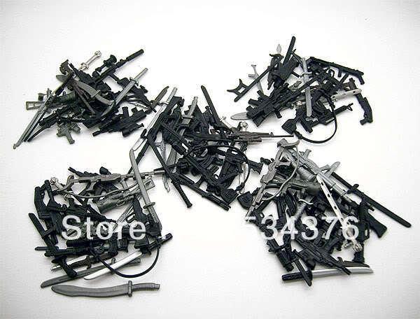 """Lot de 100 pcs G.I. Joe GI Joe armes arme Gun lame couteau costume pour 3.75 """" échelle Action Figure Figurine poupée(China (Mainland))"""