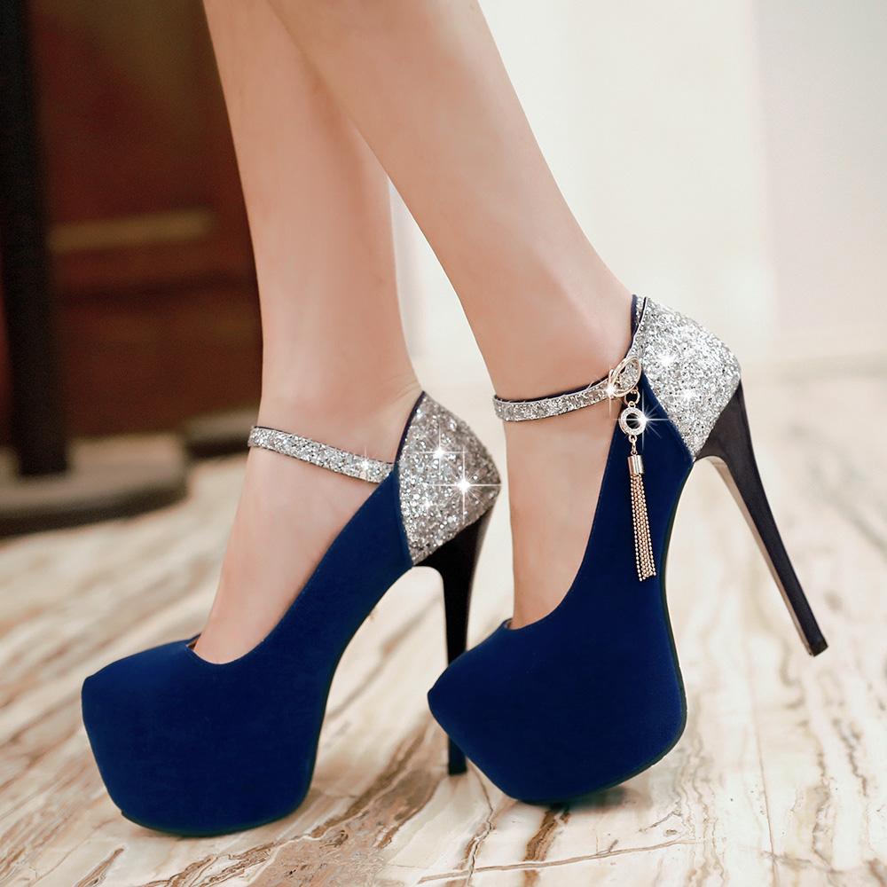 2016 New Belt Mary Jane Style Metallic Chains Party Wedding Shoes Round Toe High Heels Platform Women Pumps large size 34-42(China (Mainland))