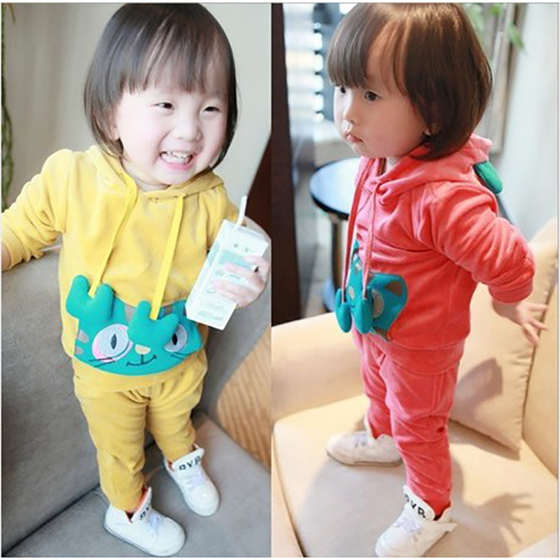 Age 0-2 Autumn Kids baby Girl Clothes, 2pcs Children Cartoon Clothing Set Hoody Coat+Pants, Toddler Tracksuits For newborn Girls(China (Mainland))