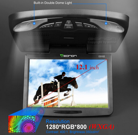 """12.1"""" Car Flip Down DVD Player Auto Ceiling Overhead monitor with HD 1280*800 Game DVD USB SD Mp3 CD Player Black(China (Mainland))"""