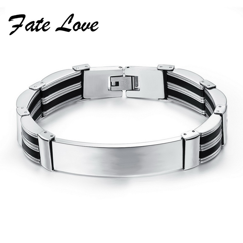 Promotion 13MM Width Stainless Steel Black & Silver Silicone ID Bracelet Wristband 8.07Inch Man Jewelry Cheap Price HD936(China (Mainland))