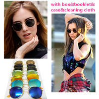 Round Metal 3447 Sunglasses Designer sun Glasses woman Eyewear Gold Green Flash 50mm Glass Lenses For Men sunglass with 7 color