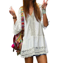 Buy 2017 Summer Style Women Sexy Dress Lace Hollow V neck Flare Sleeve Loose Vestidos Casual Boho Beach Short Dresses Plus Size for $7.71 in AliExpress store