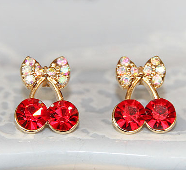 Promotion Korean Exquisite Sweet Girls Fashion Brincos 18KG Plated Cystal Cherry Bowknot 18KGP Accessories Stud Earrings E2395 - WOW 365days Jewelry store