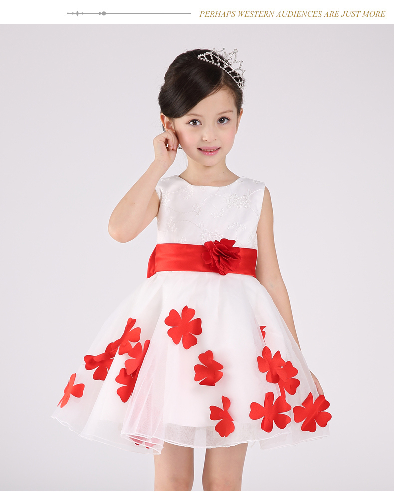 cute girl dress with floral patchwork princess dress for girl kids prom gown formal wear baby girl clothing(China (Mainland))