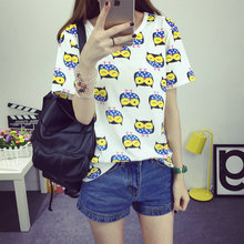 2016 Women's T-Shirt Summer Style Bottoming Unique Birds Printed Fashion Clothes O-neck Dots Short Tops Size M-XXL Free Shipping(China (Mainland))