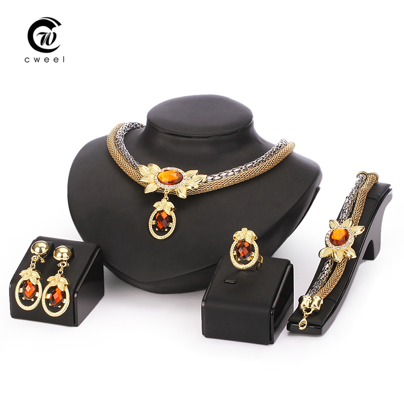 African Beads Jewelry Sets Wedding Accessories Costume Women Party Gold Plated Crystal indian Dress Necklace Bangle Earring Ring(China (Mainland))