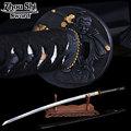 home decor katana The newly designed black scabbard Damascus steel forging Sharpe Knife Samurai Figure Ngok