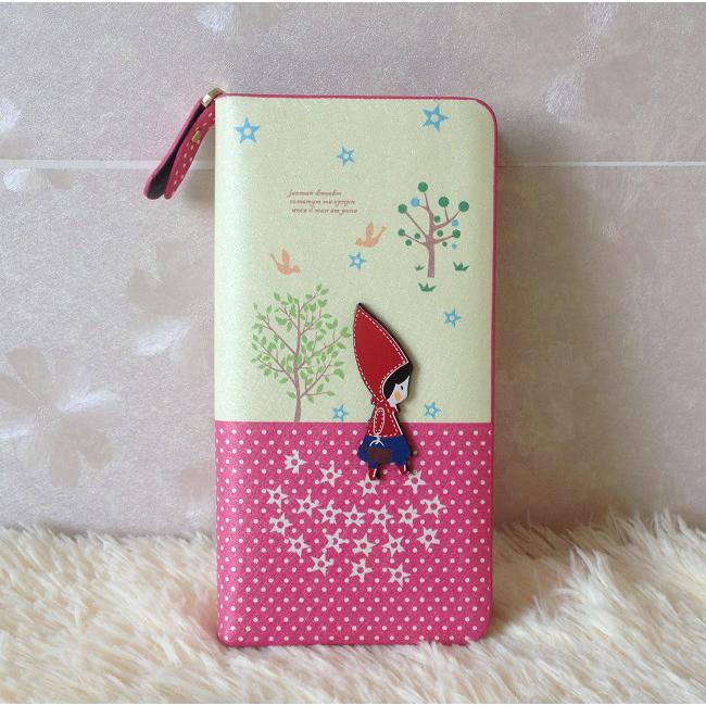 Hot Sales women wallets purses cute cartoon pattern long ladies wallets fashion leather bolsa feminina bolsos 8 colors(China (Mainland))