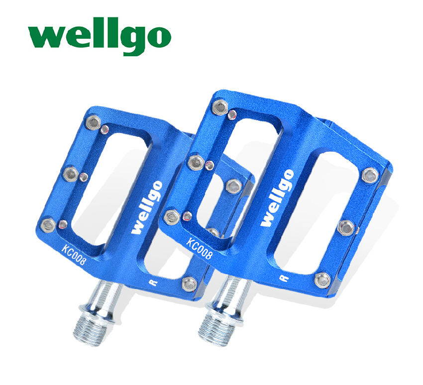 """WELLGO Bike Bicycle Ultralight Aluminum Extruted Platform Pedals 9/16"""" Spindle Sealed Bearing for Road Bike MTB KC008(China (Mainland))"""