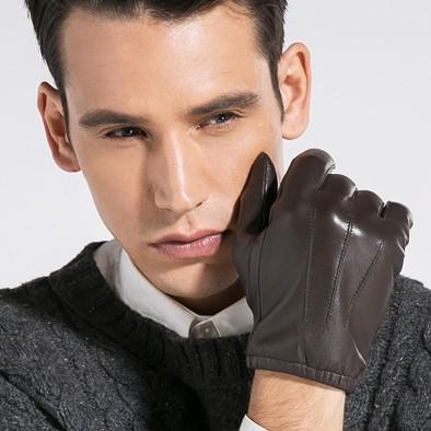 Fashion Winter Man Gloves Genuine Leather Goatskin Mittens Black Brown Warm Velvet Elastic Necking STGE007 - CF Online Store(Factory Outlet store)