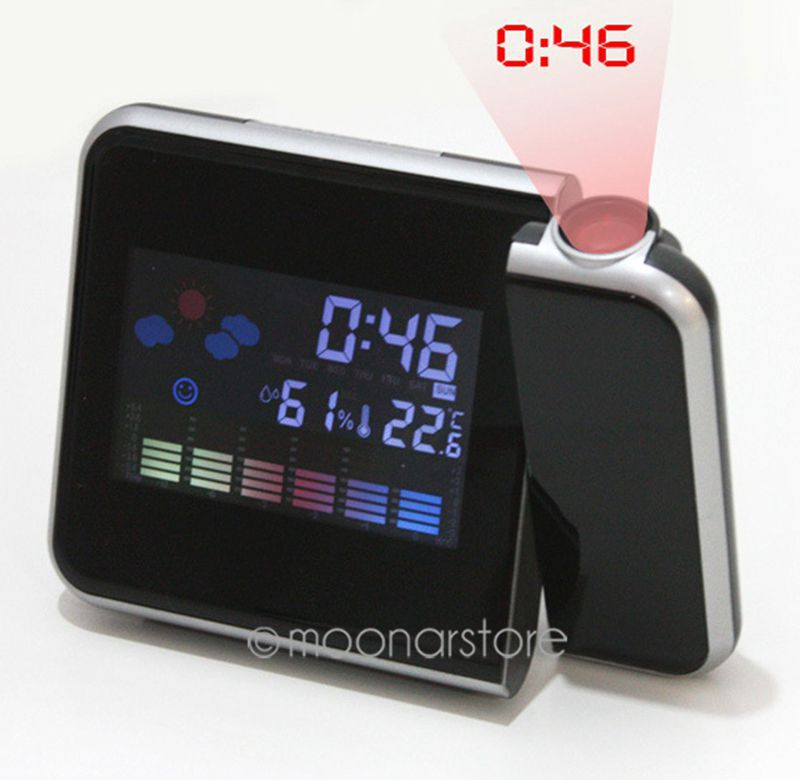 Hot Projection Weather LCD Digital Alarm Clock, Backlight LED Color Display Projector Snooze Alarm Hours Clocks Y57*SY0024#M5(China (Mainland))