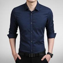 2016 New Autumn Fashion Brand Men Clothes Slim Fit Men Long Sleeve Shirt Men Polka Dot Casual Men Shirt Social Plus Size 5XL(China (Mainland))