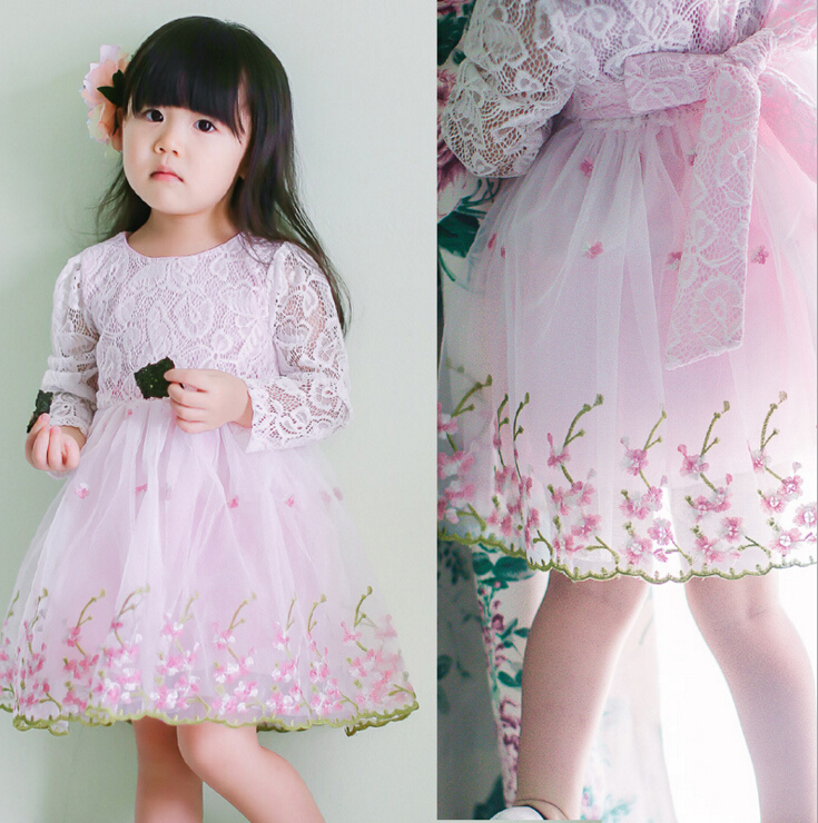 2016 New Girls Baby Lace hollow out dresses Childrens princess embroidery Peplum long sleeve dress wholesale<br><br>Aliexpress