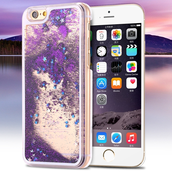 I6/6+ Glitter Quicksand Clear Case For Iphone 6 4.7inch/5.5inch Plus Deluxe Bling Star Crystal PC Transparent Hard Back Cover(China (Mainland))