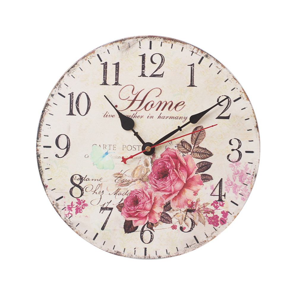 12 Inch Vintage Rustic Country Tuscan Style Silent Wooden Wall Clock Home Decor - Flower