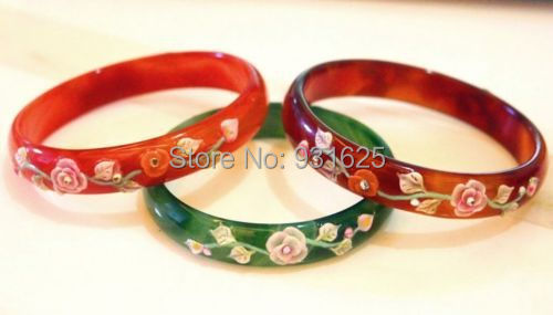 3pcs  100% real Hand Carved flowers Natural red green  agate jade BANGLE 58-62MM wholesale