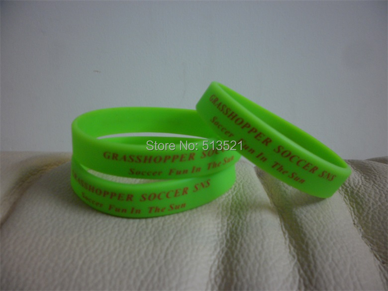 500pcs Free Shipping Customized Personalized Printed Logo Green Rubber Band For Children P032617(China (Mainland))
