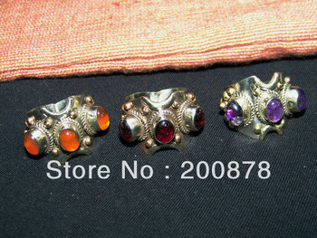 R082  Tibetan White Metal Copper inlaid various Natural Stone Rings,man close rings,agate,garnet,amethyst,mix order