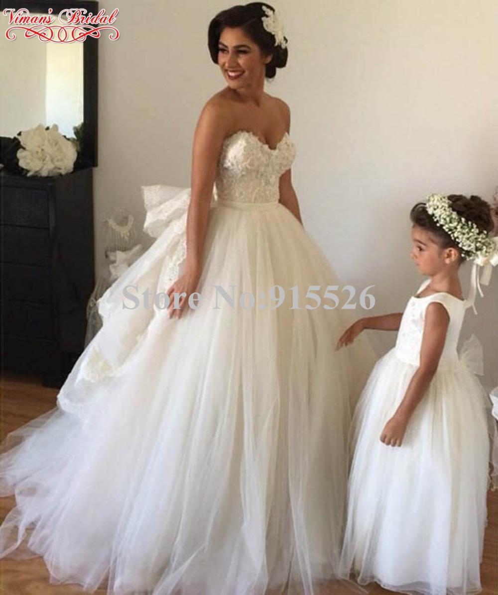 2015 Vimans Bridal White Robe De Mariee Appliques Lace Sweetheart ...