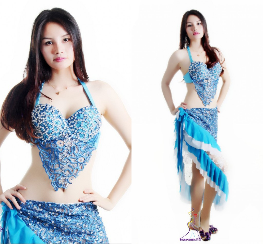 Classy original design adult blue beaded belly dance Indian dance performance yoga costumes clothes suit set 2pcs(bra+hip scarf)(China (Mainland))