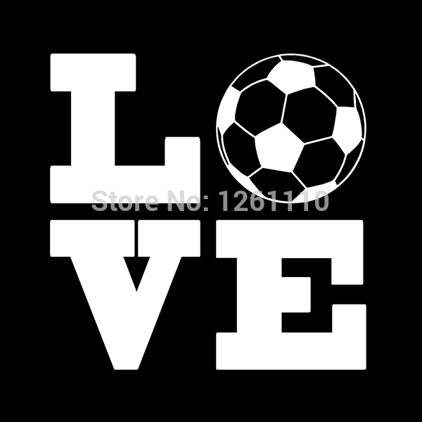 50 pcs/lot LOVE Soccer Ball Sports Vinyl Decal Sticker For Car Truck SUV Window Bumper Kayak Canoe Art Wall 8 Colors(China (Mainland))