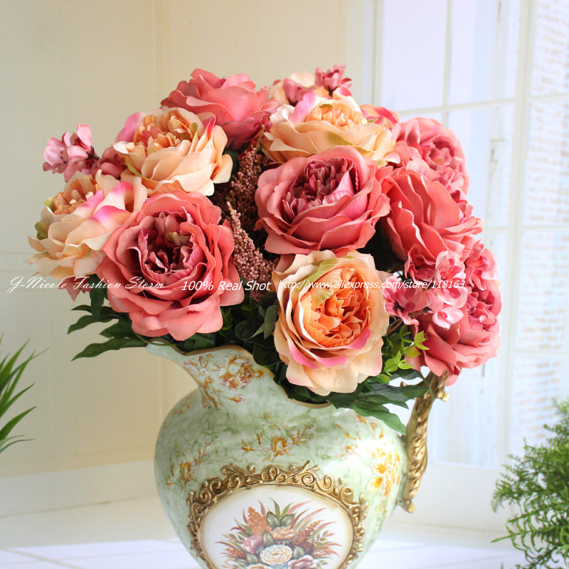 2015 new arrival big french style peony silk artificial for Home decorations with flowers