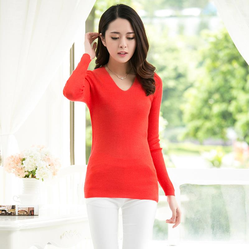2015 Newest High Quality Women Pullover Knitted Long Sleeve Colorful Sweater Spring Autumn Fashion Slim Solid V-neck Cotton(China (Mainland))