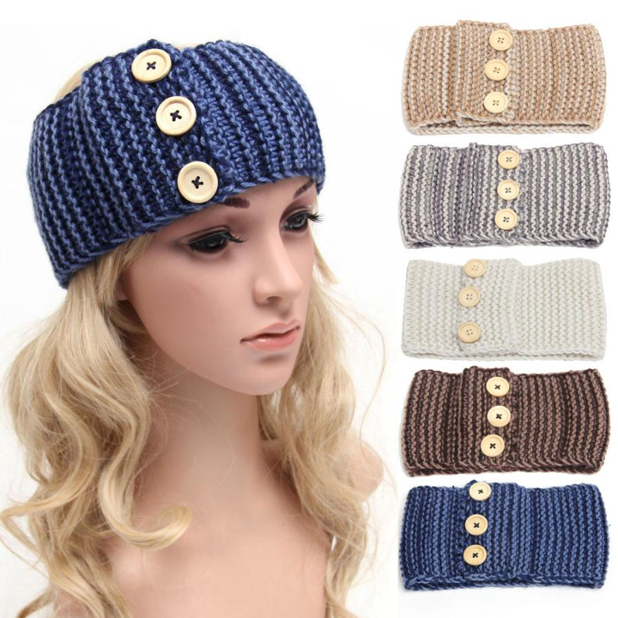 Amazing Three Buttons Women Crochet Turban Knitted Headwrap Hair Band Winter Ear Warmer Headband Hair Muffs Band Free Shipping(China (Mainland))
