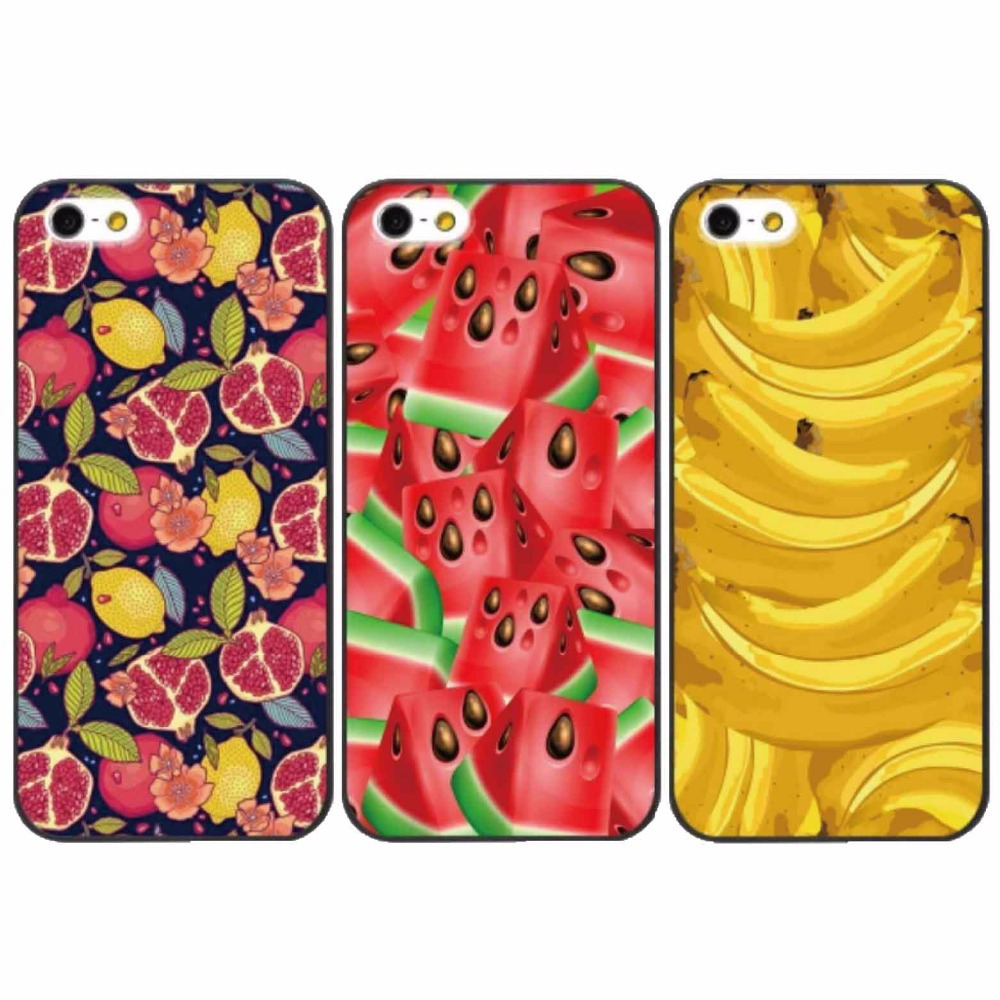 Fruit series designed case for iphone 4 4s 5 5s 6 6plus Mobile Phone Case transparent or black border hard cover cases.(China (Mainland))