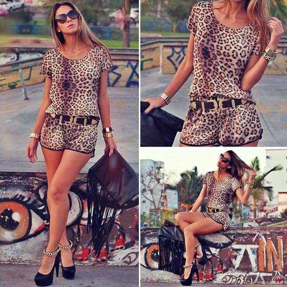 Rompers mulheres macacão macacão mulheres Bodycon macacão com cinto leopardo