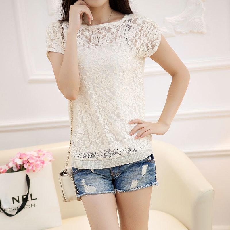 Гаджет  The new spring and summer Korea elegant slim thin short sleeved hollow hook flower bat sleeve sweater blouse girl. None Изготовление под заказ