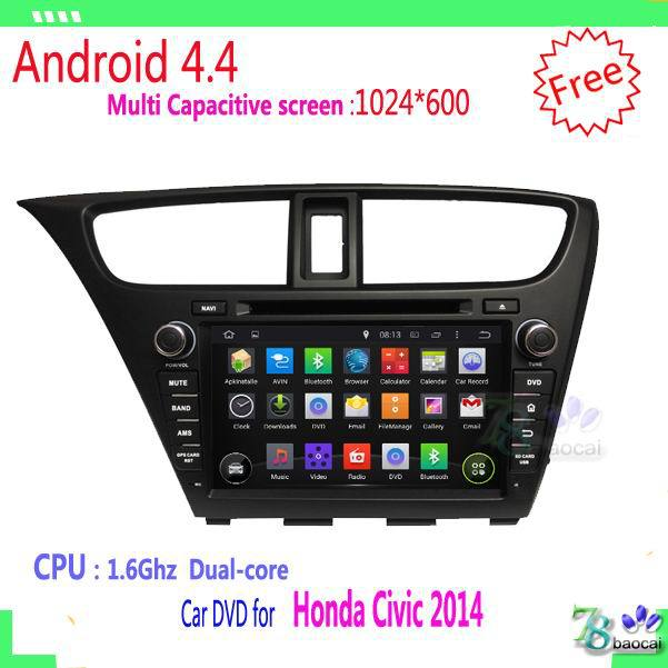 2din Android 4 4 Car DVD player For HONDA Civic 2014 with WIFI GPS USB Capacitive