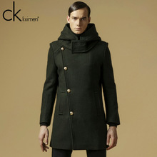 2014 new business casual upscale men's Single-breasted hooded wool coat In the long section jacket FNP308 Y2W(China (Mainland))