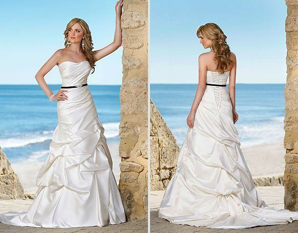 Free Shipping Strapless Satin With  Belt Rouched,Hot Sell Beach Wedding Dress