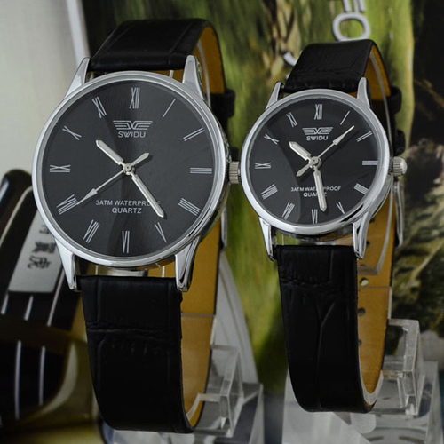 2015 New Dress Design for Couple Lover Faux Leather Quartz Analog Roman Numeral Watches<br><br>Aliexpress