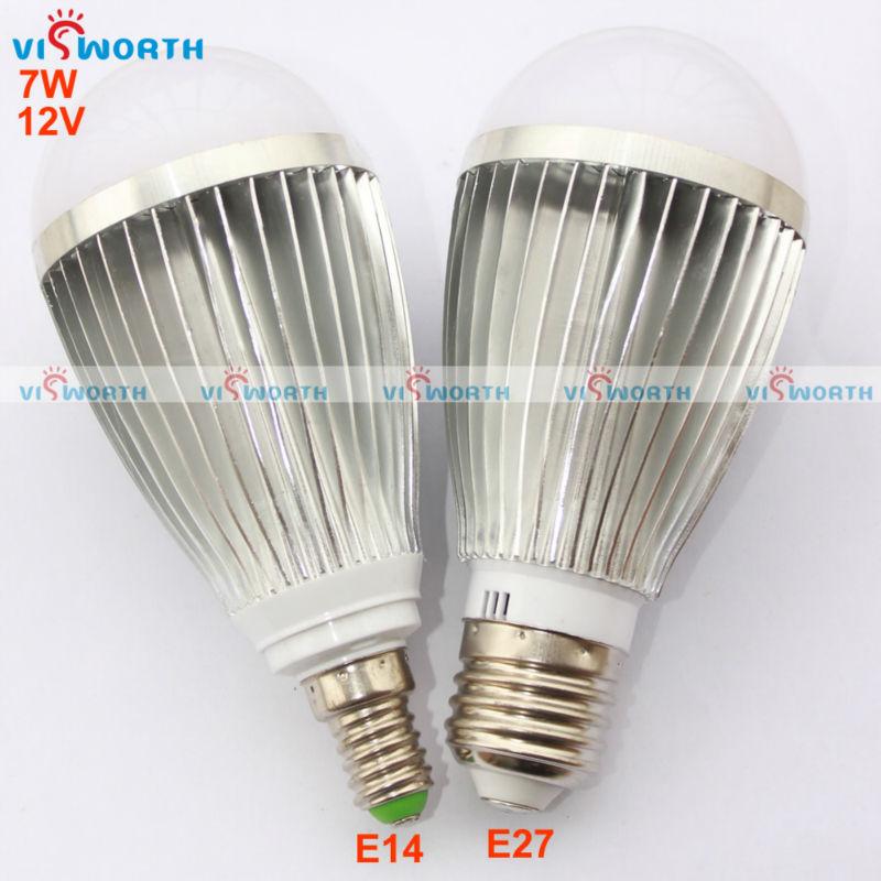 12V LED BULB 7W ultra bright led lamp aluminium body cold white warm white e27 E14 base high quality led light free shipping(China (Mainland))