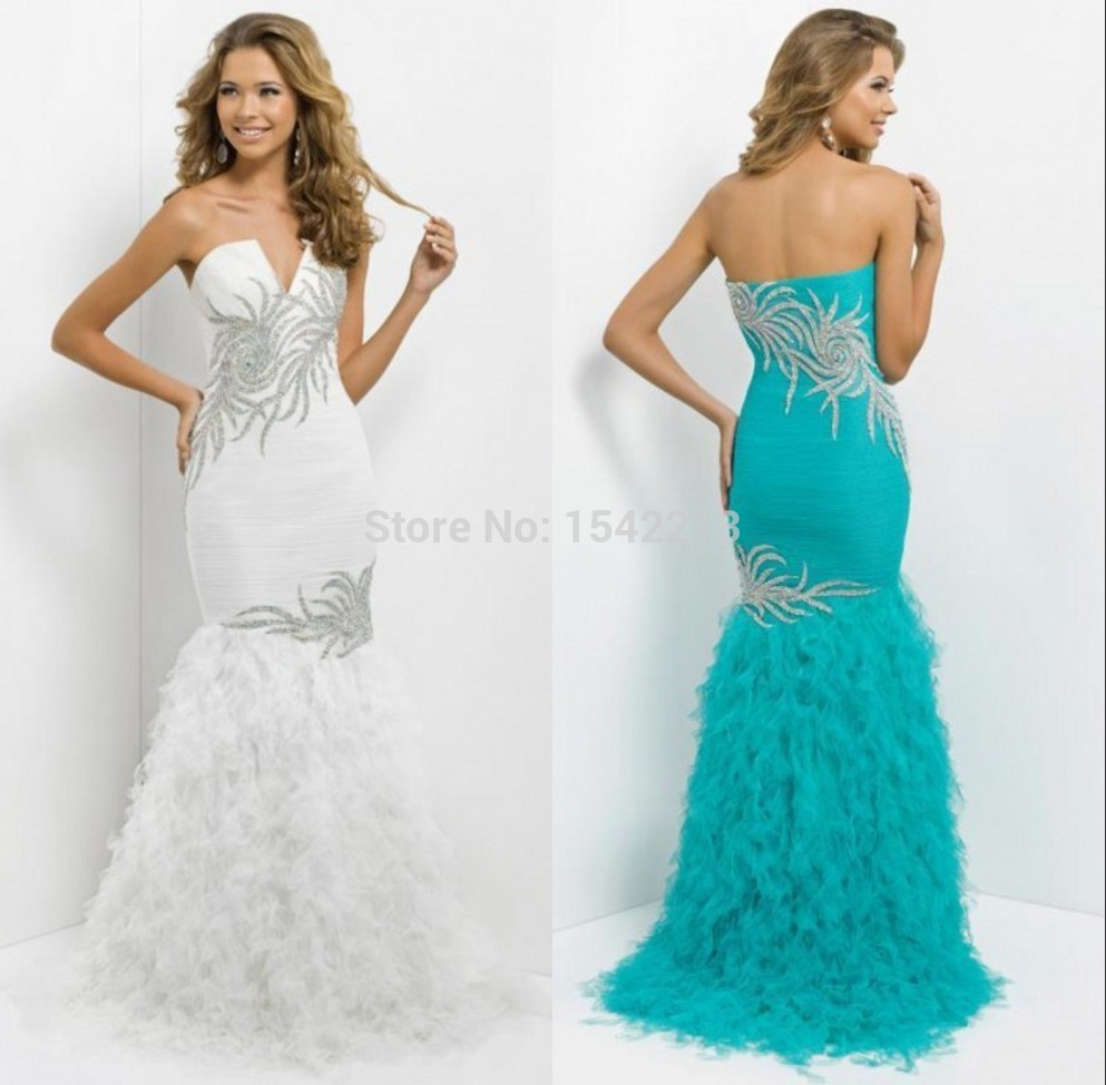turquoise blue white mermaid evening dress heavy beaded