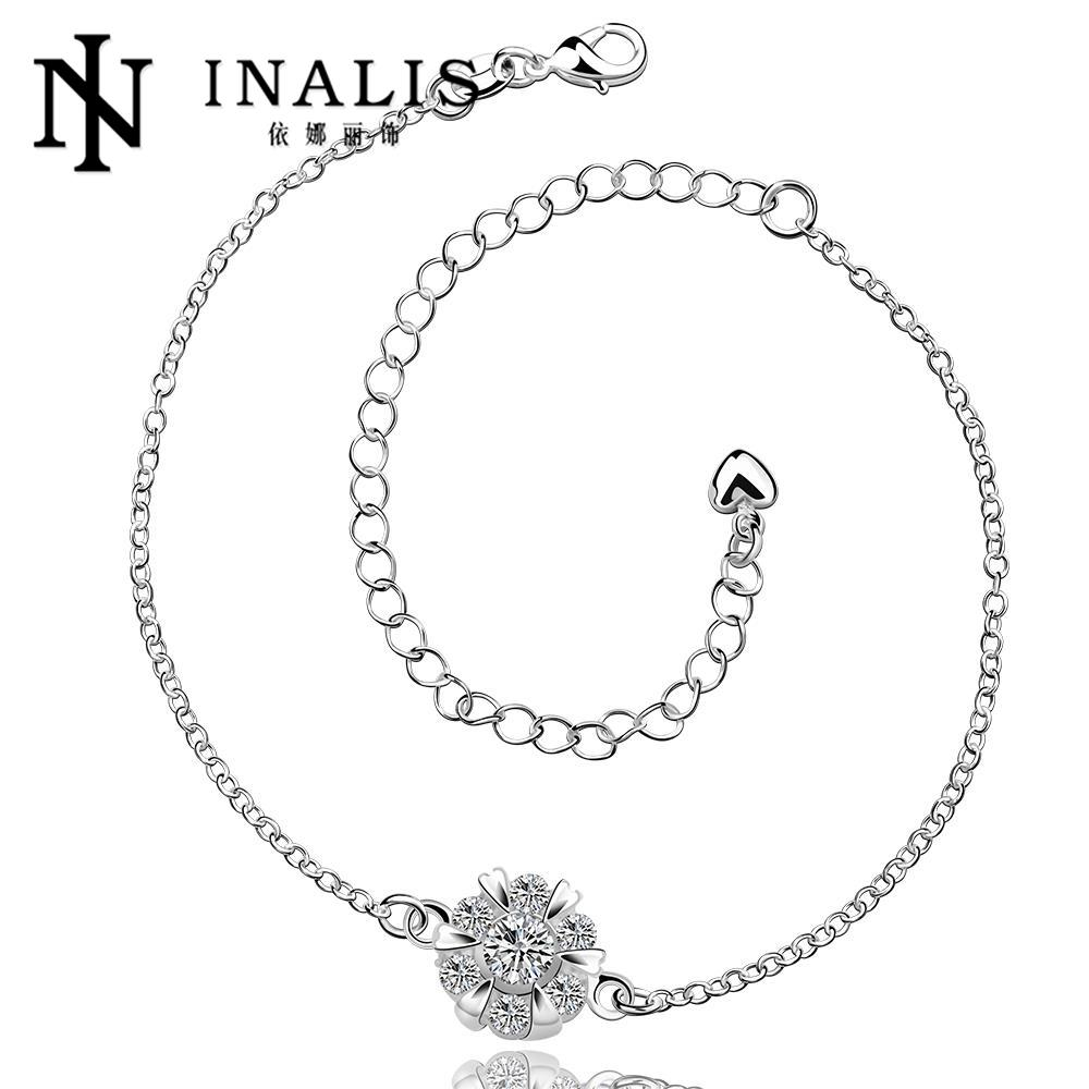 Hot sexy silver Anklets silver fashion jewelry charm foot bracelet Anklets white rhinestone chain Anklets lady women A032(China (Mainland))