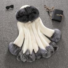 High Imitation Fur Coat Women Silver Fox Fur Collar Hooded Rabbit Fur Coat Medium-Long Overcoat Plus Size S-4XL Winter Coat(China (Mainland))