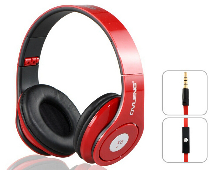New Ovleng X8 3.5mm Folding Stereo Headphones Earphones Headset Detachable Cable Controller for PC iPhone4/5