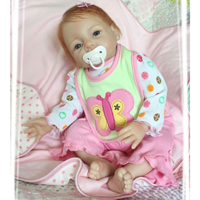 Фотография 22Inch Silicone Reborn Baby Doll Handrooted Mohair Lifelike Newborn Baby Bebe Juguetes Brinquedos Babies Toys For Birthday Gift